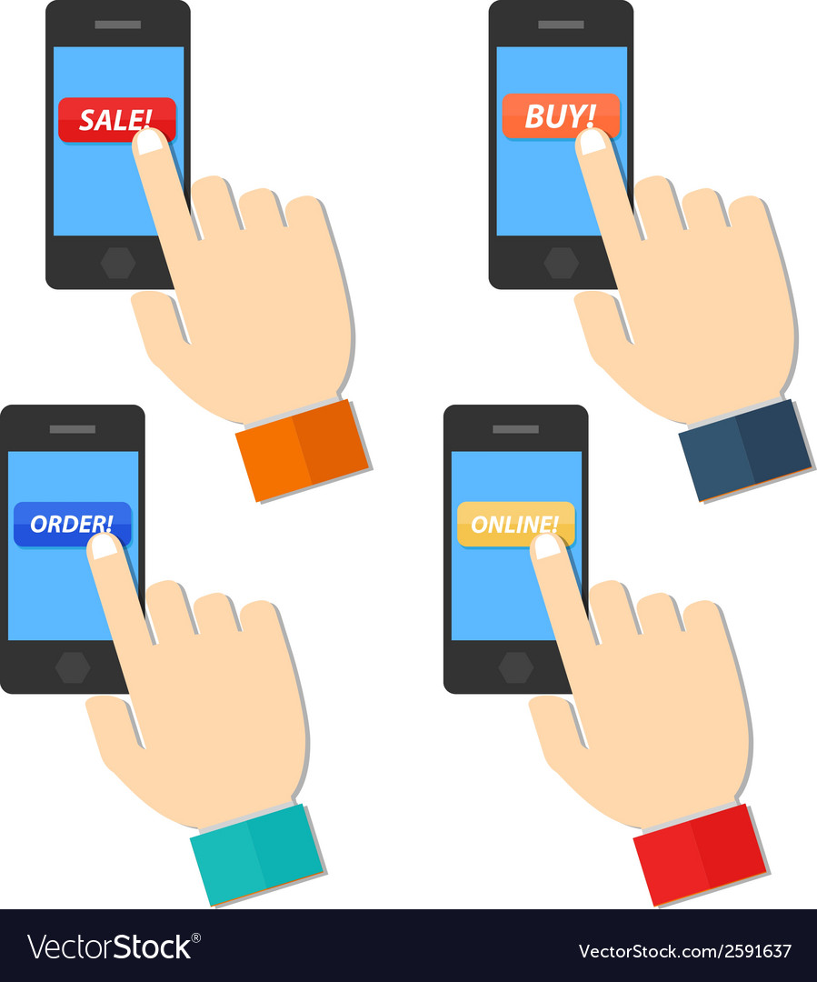Shop hand hold touch screen on mobile phone vector | Price: 1 Credit (USD $1)