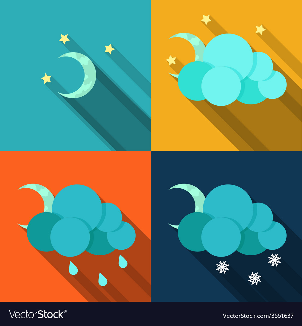 Weather icons in flat style vector | Price: 1 Credit (USD $1)