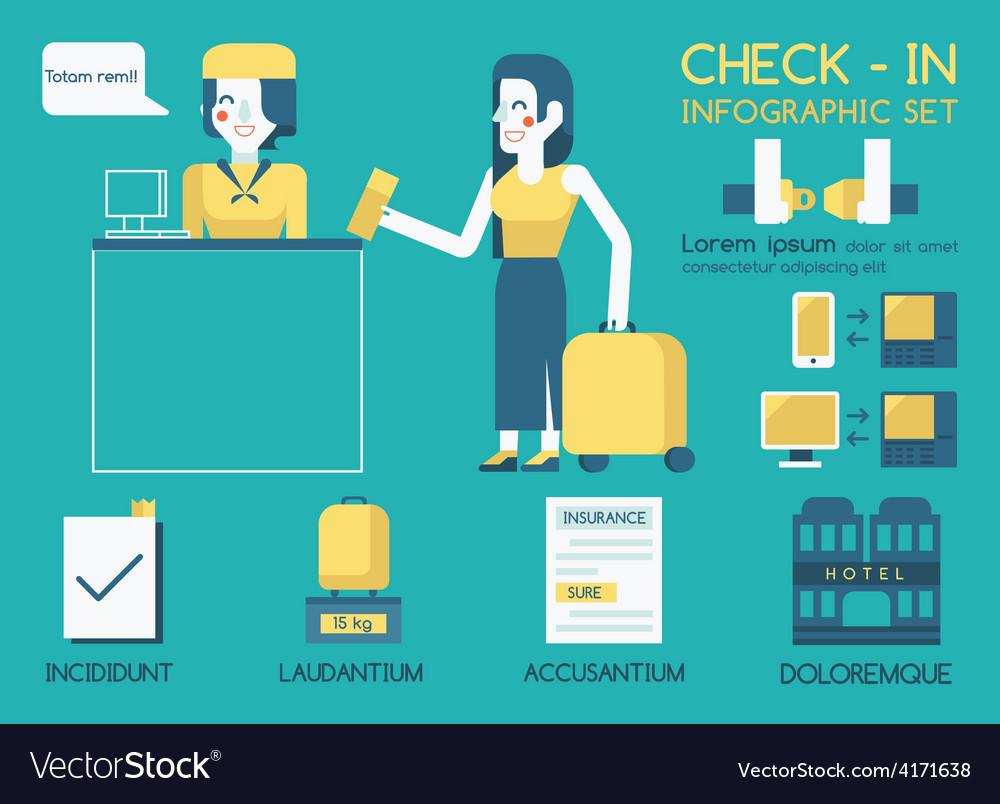 Check in info graphic vector | Price: 1 Credit (USD $1)
