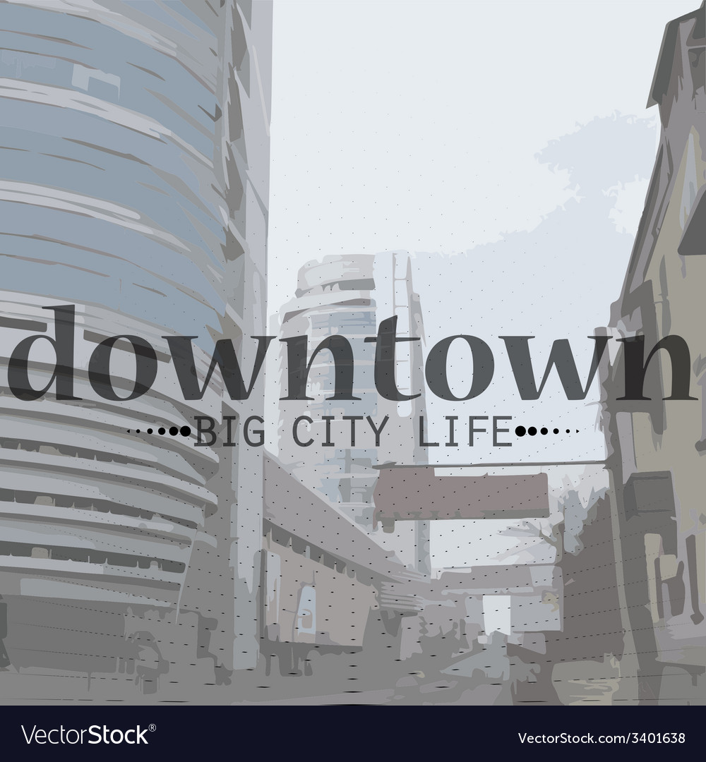 City life in perspective and text vector | Price: 1 Credit (USD $1)