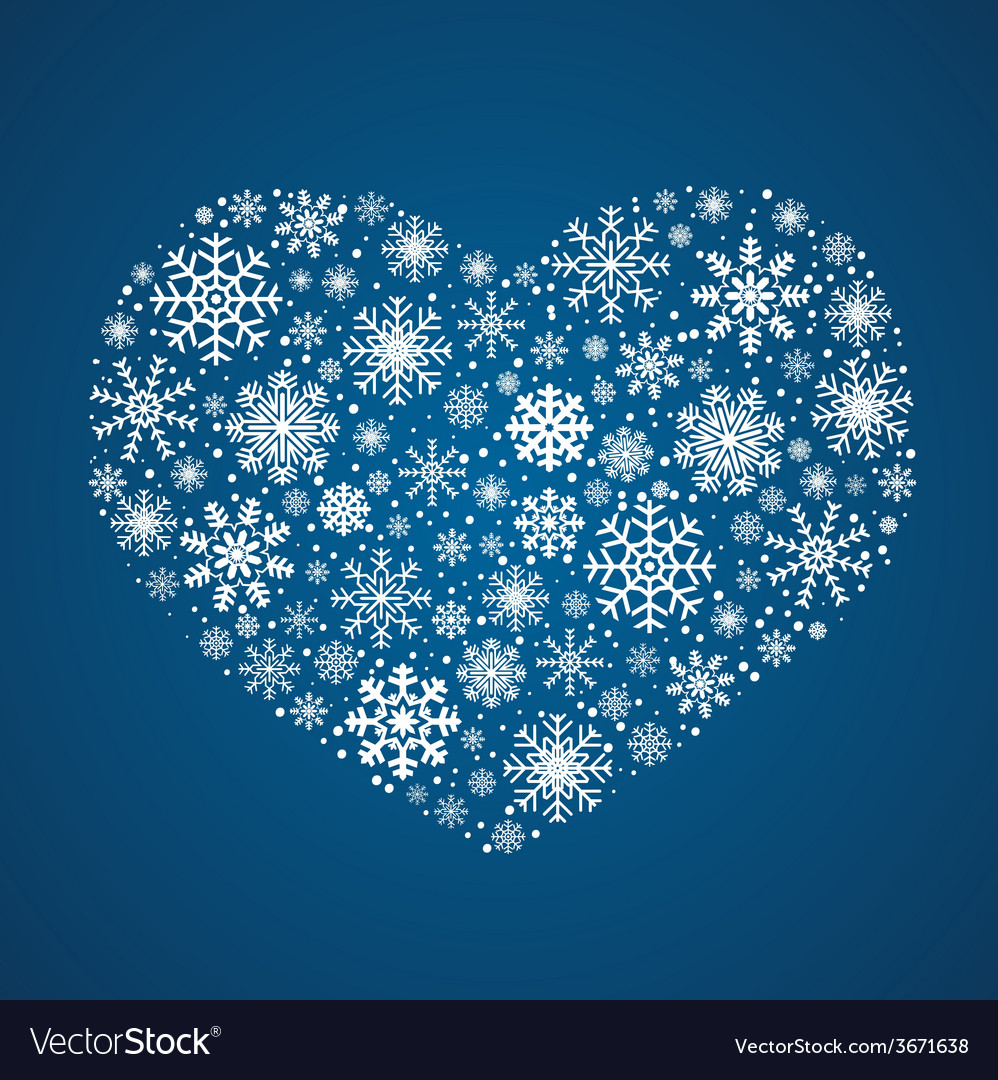 Frosty snowflakes in heart shape vector | Price: 1 Credit (USD $1)