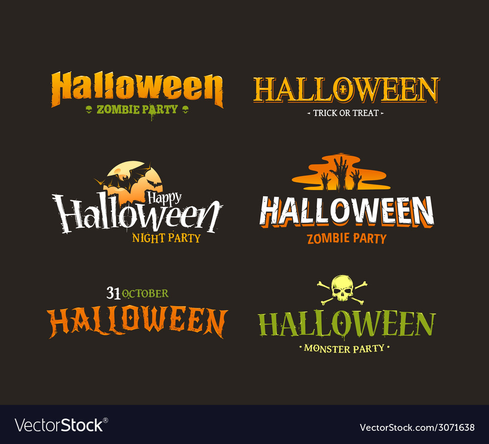 Halloween typography set 1 vector | Price: 1 Credit (USD $1)