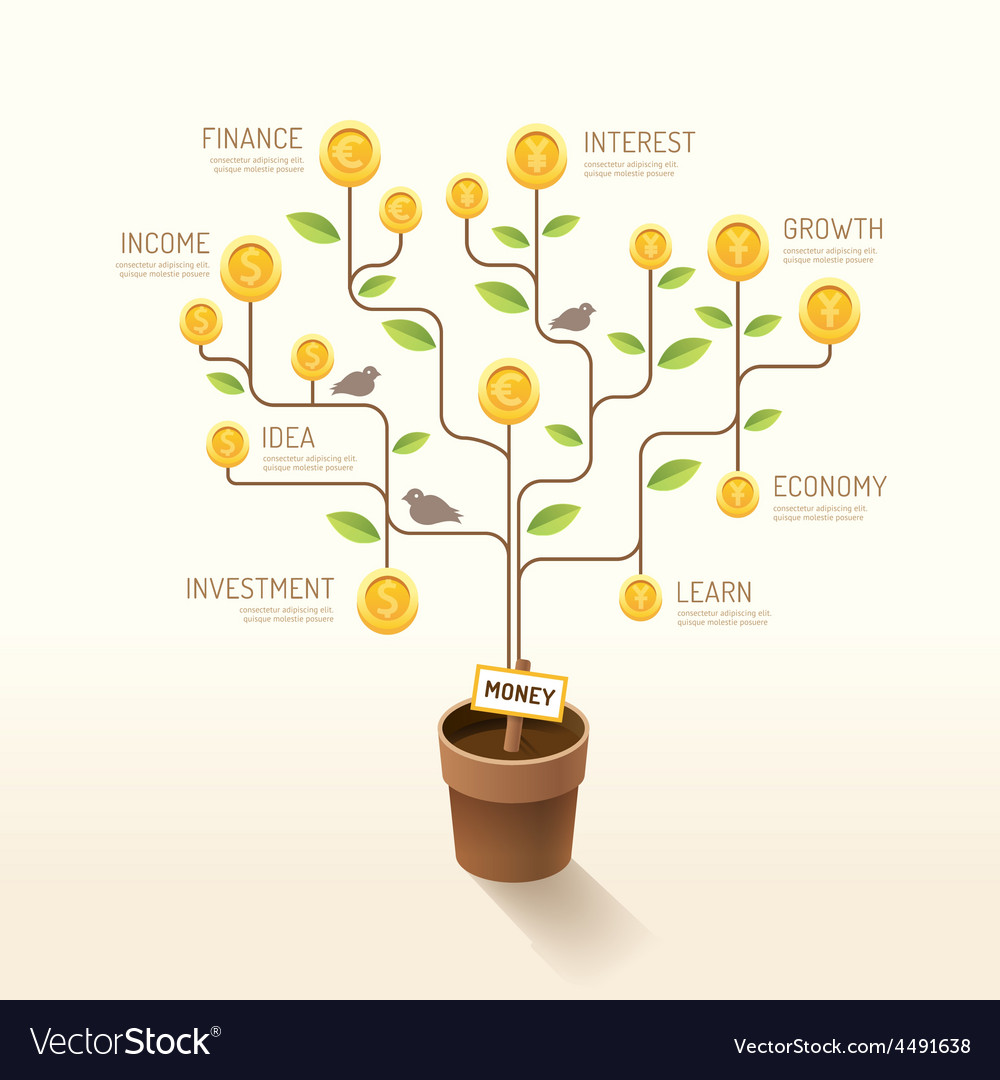 Infographic business money plant and coins flat vector | Price: 3 Credit (USD $3)