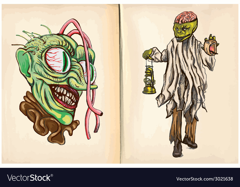 Monster head and corpse - an hand drawn vector | Price: 1 Credit (USD $1)
