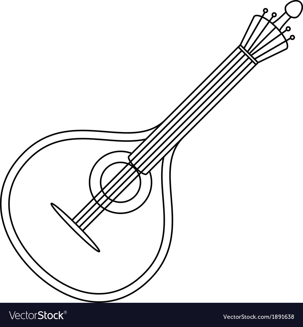 Musical instrument mandolin contour vector | Price: 1 Credit (USD $1)