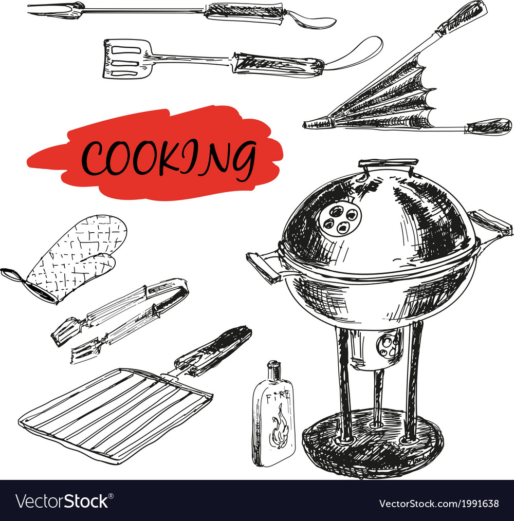 Set of barbecue utensils vector | Price: 1 Credit (USD $1)