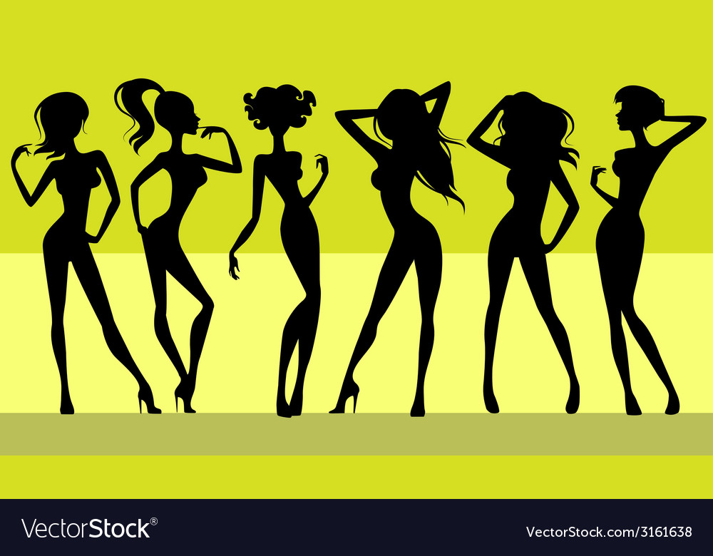 Six girls silhouettes vector | Price: 1 Credit (USD $1)