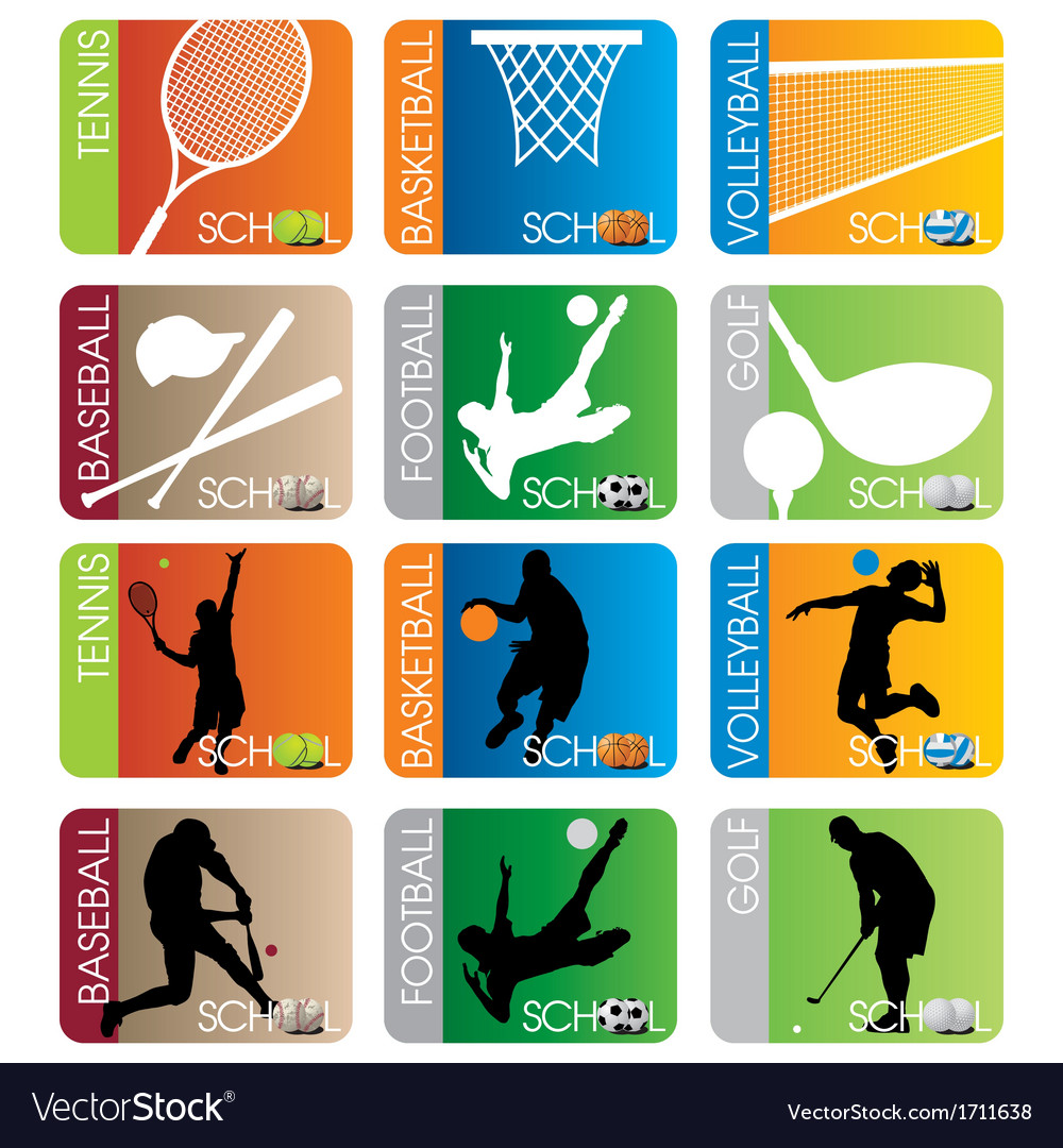 Sport school insignias set vector | Price: 1 Credit (USD $1)