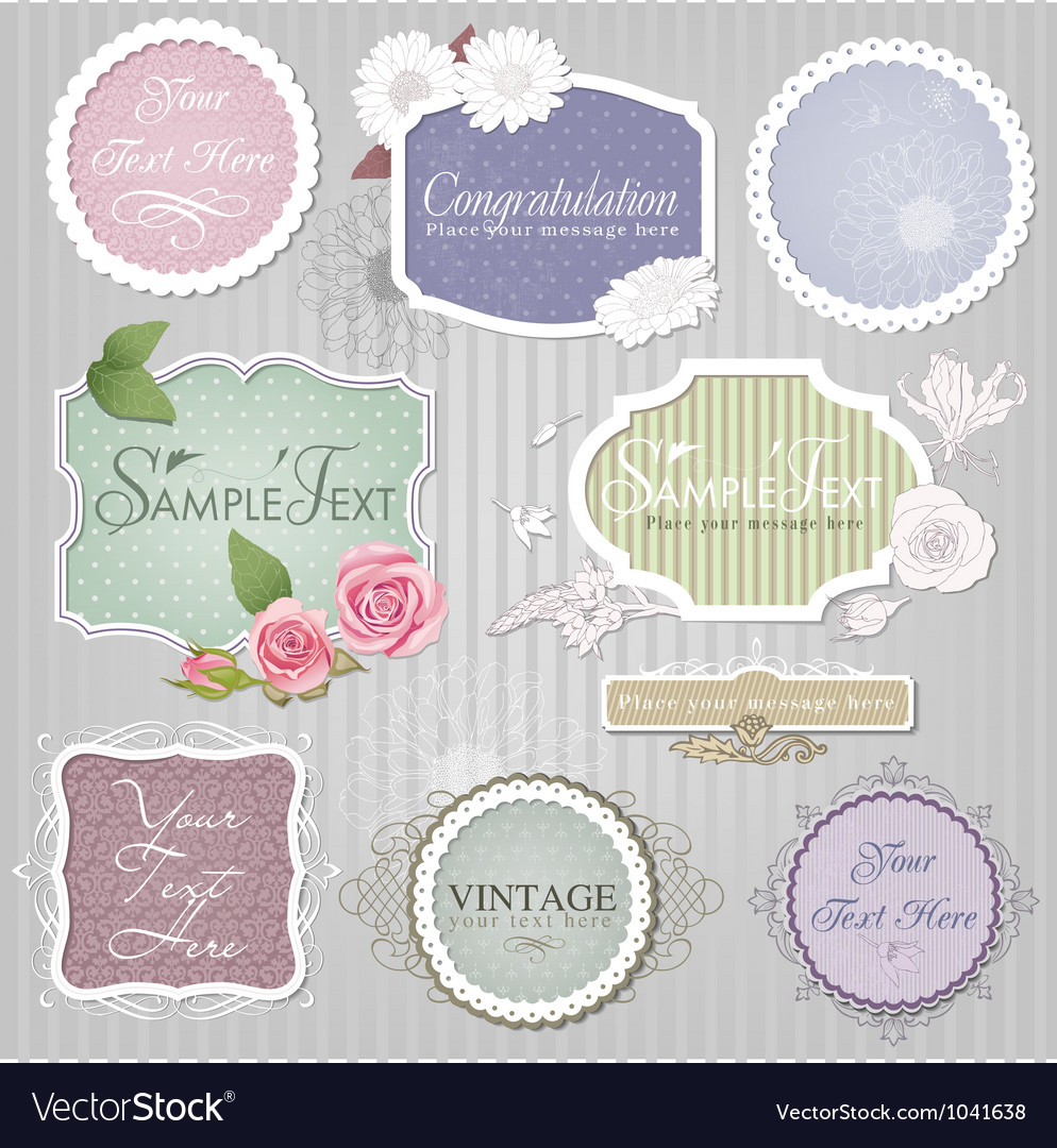 Vintage border set vector | Price: 1 Credit (USD $1)