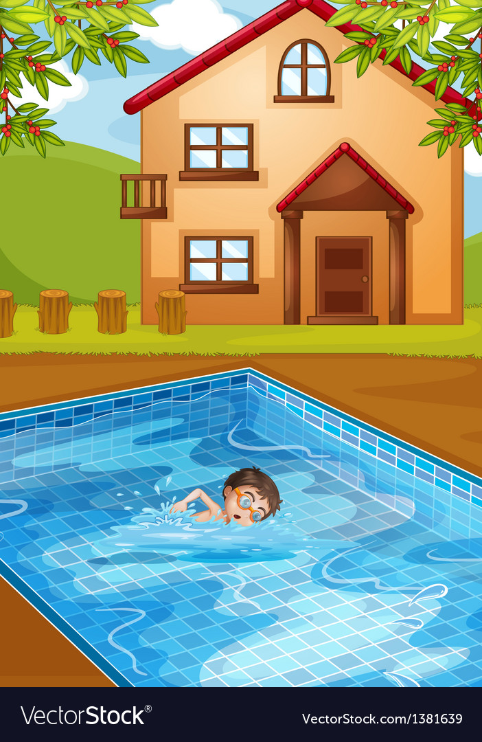 A kid swimming at the pool vector | Price: 1 Credit (USD $1)