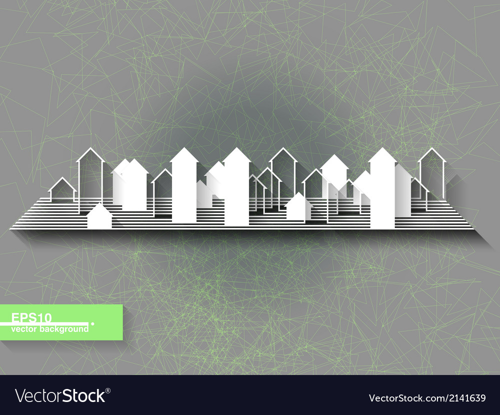 Abstract origami background with city silhouette vector | Price: 1 Credit (USD $1)