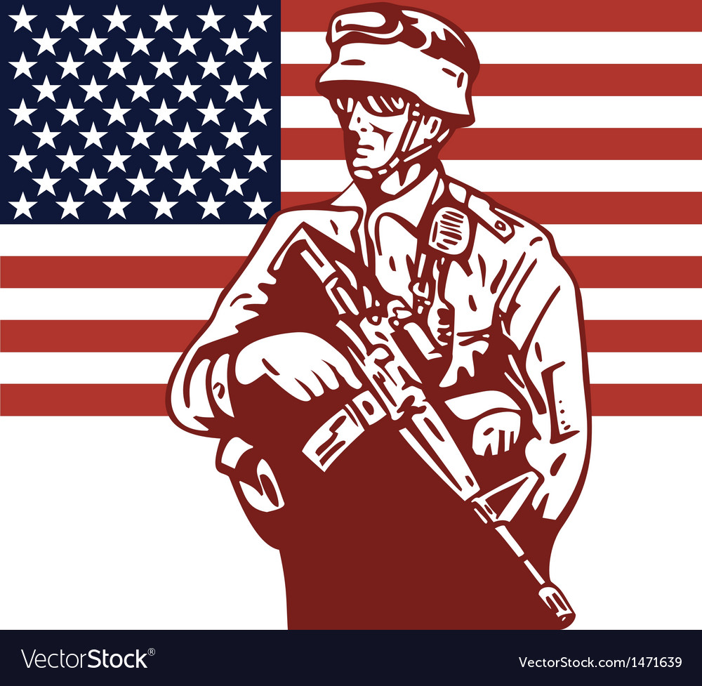 American soldier serviceman carrying armalite vector | Price: 1 Credit (USD $1)