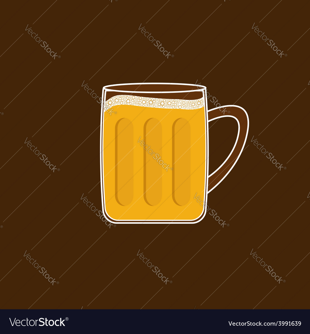 Beer glass mug with foam cap froth bubble flat des vector | Price: 1 Credit (USD $1)