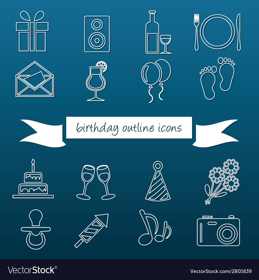Birthday outline icons vector | Price: 1 Credit (USD $1)