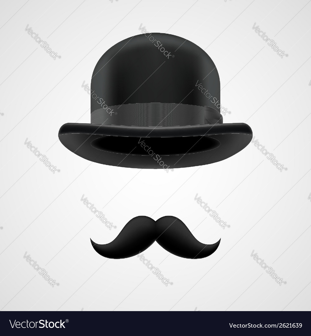 Boss gentleman with moustaches and bowler hat vector | Price: 1 Credit (USD $1)