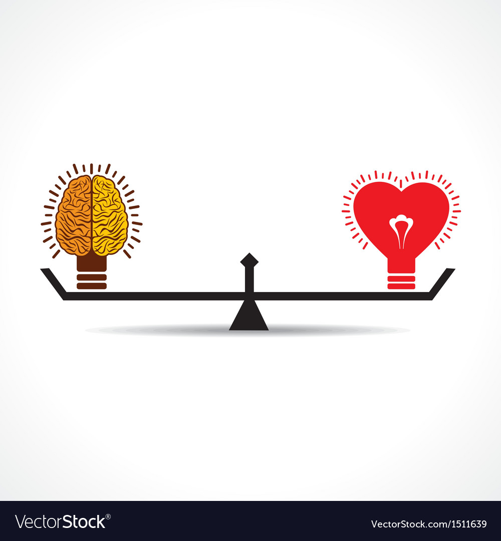 Brain and heart is equal weight age vector | Price: 1 Credit (USD $1)