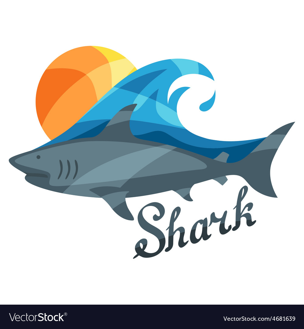 Bright or print with shark for t vector | Price: 1 Credit (USD $1)