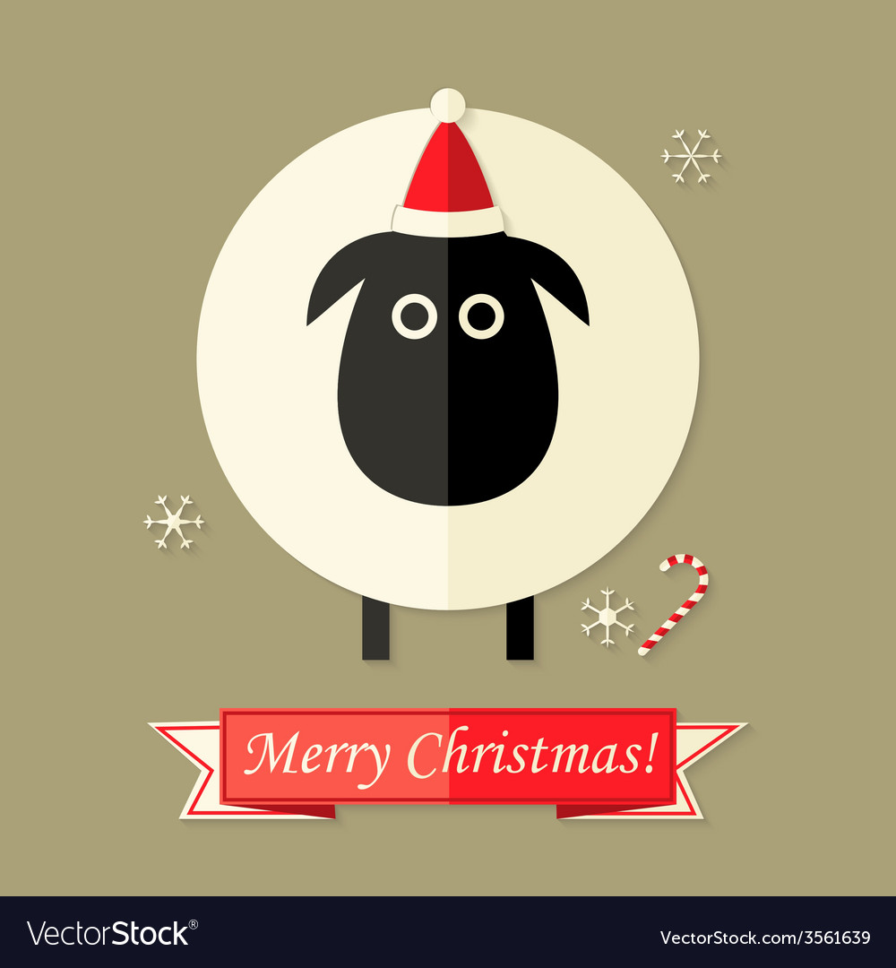 Christmas card with sheep over brown vector | Price: 1 Credit (USD $1)
