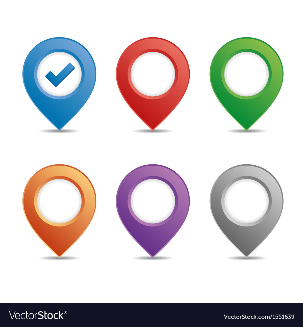 Color pin set vector