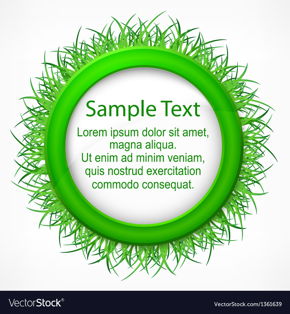 Grass round label vector | Price: 1 Credit (USD $1)