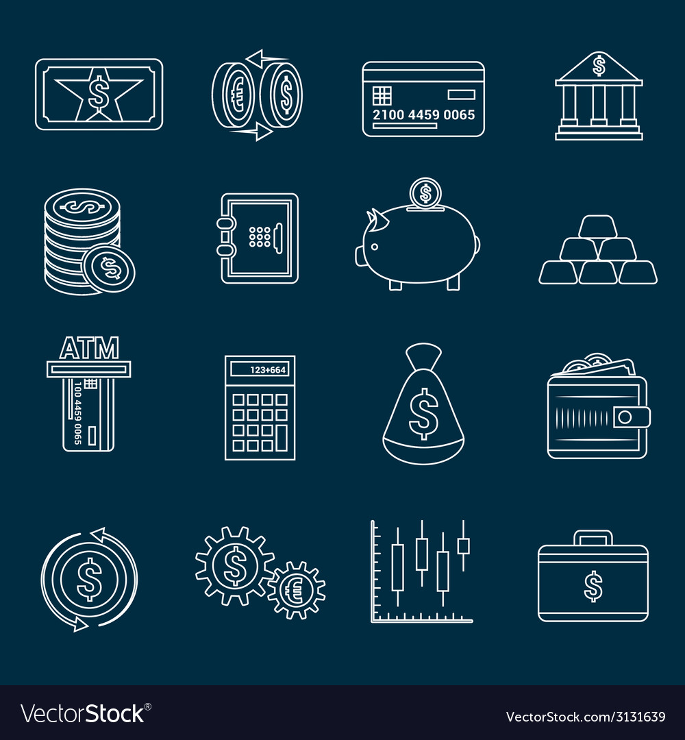 Money finance icons outline vector | Price: 1 Credit (USD $1)