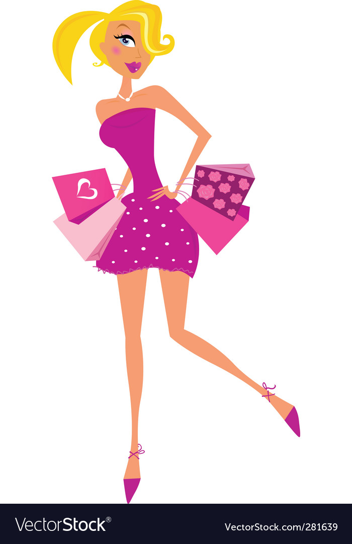 Romance shopping woman in pink vector | Price: 1 Credit (USD $1)