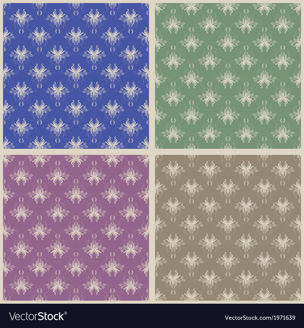 Set of four damask seamless vector | Price: 1 Credit (USD $1)