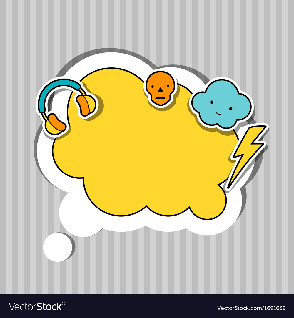 Speech bubble with sticker kawaii doodles vector | Price: 1 Credit (USD $1)