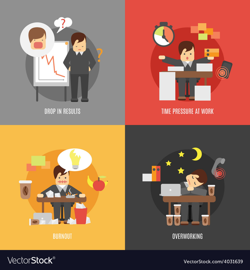 Stress at work flat icons composition vector | Price: 1 Credit (USD $1)