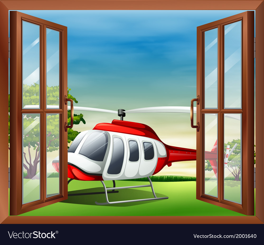 An open window with a view of the chopper vector | Price: 1 Credit (USD $1)