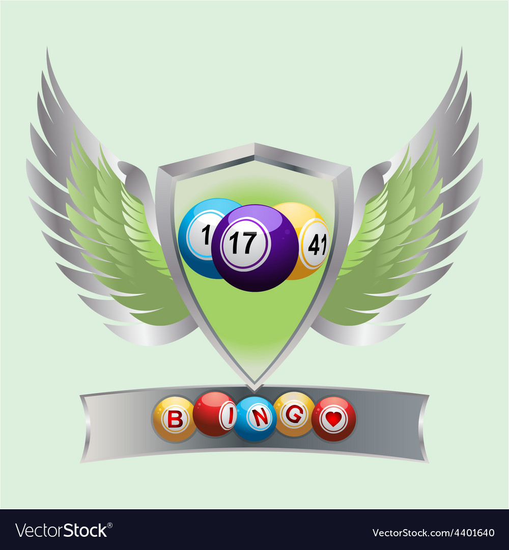Bingo balls on a shield and banner vector | Price: 3 Credit (USD $3)
