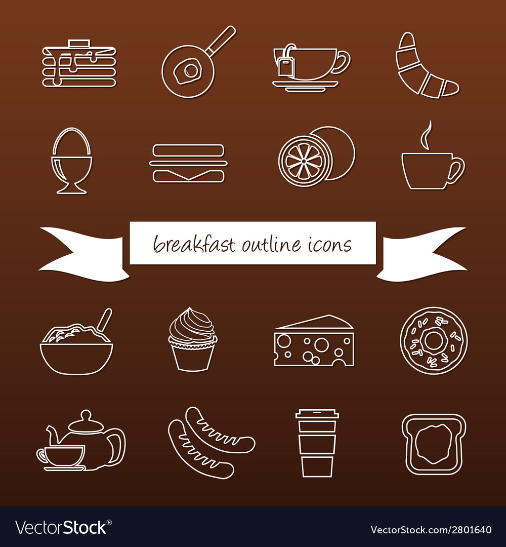 Breakfast outline icons vector | Price: 1 Credit (USD $1)