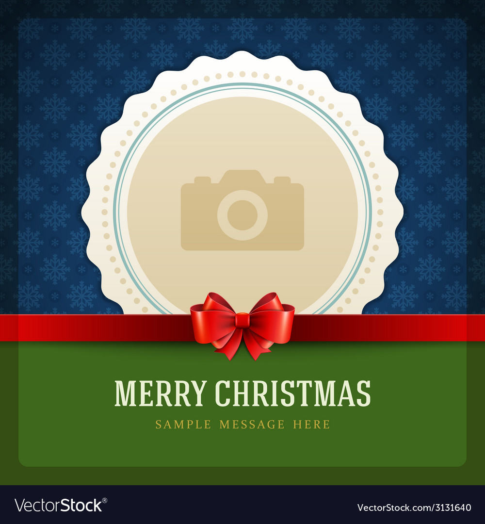 Christmas retro greeting card and place for photo vector | Price: 1 Credit (USD $1)