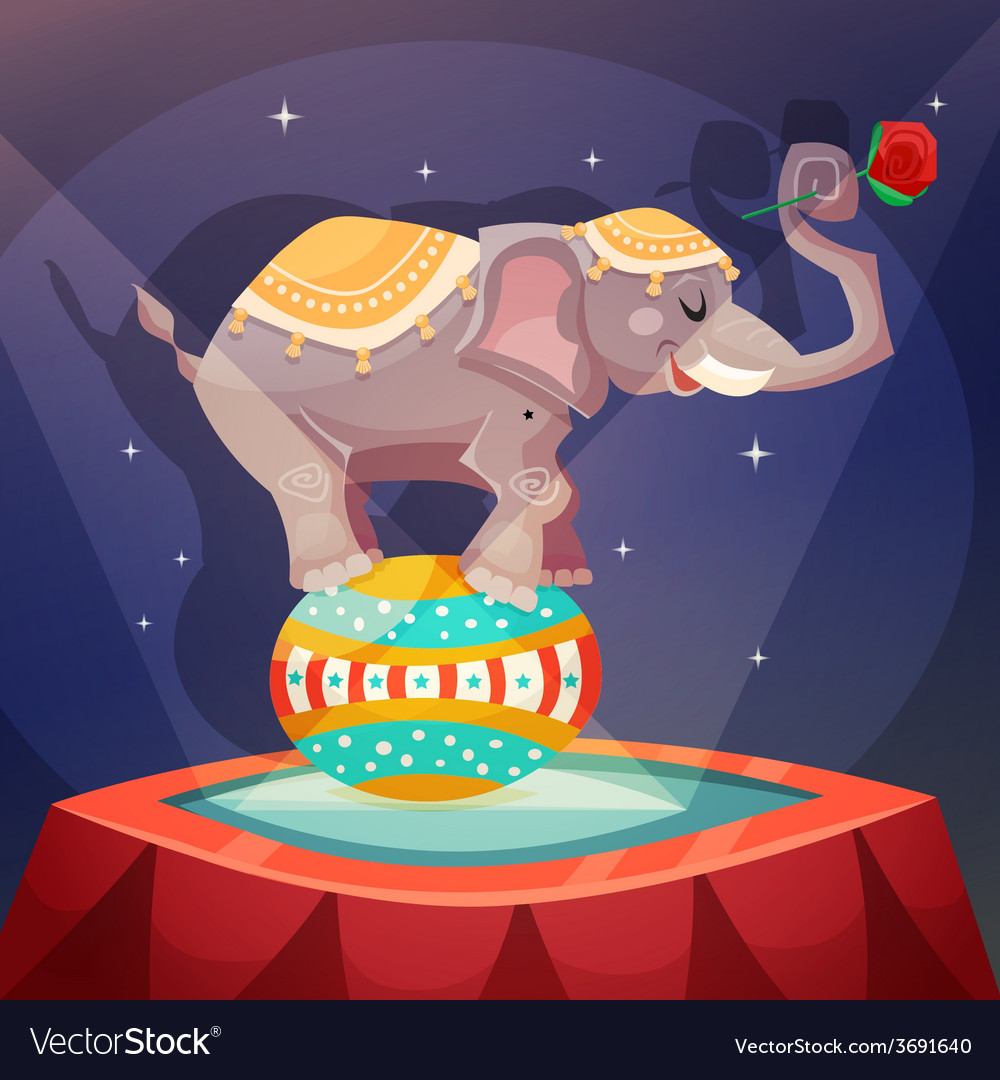 Circus elephant poster vector | Price: 1 Credit (USD $1)