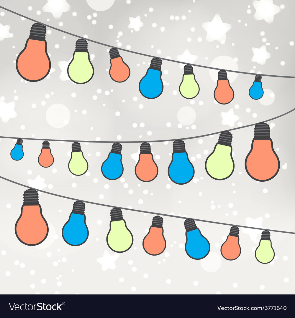 Color light bulbs on gray bokeh background eps10 vector | Price: 1 Credit (USD $1)