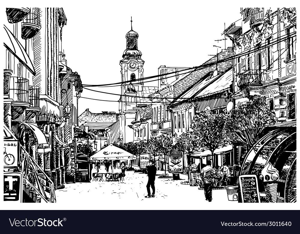 Digital sketch black and white of uzhgorod vector | Price: 1 Credit (USD $1)