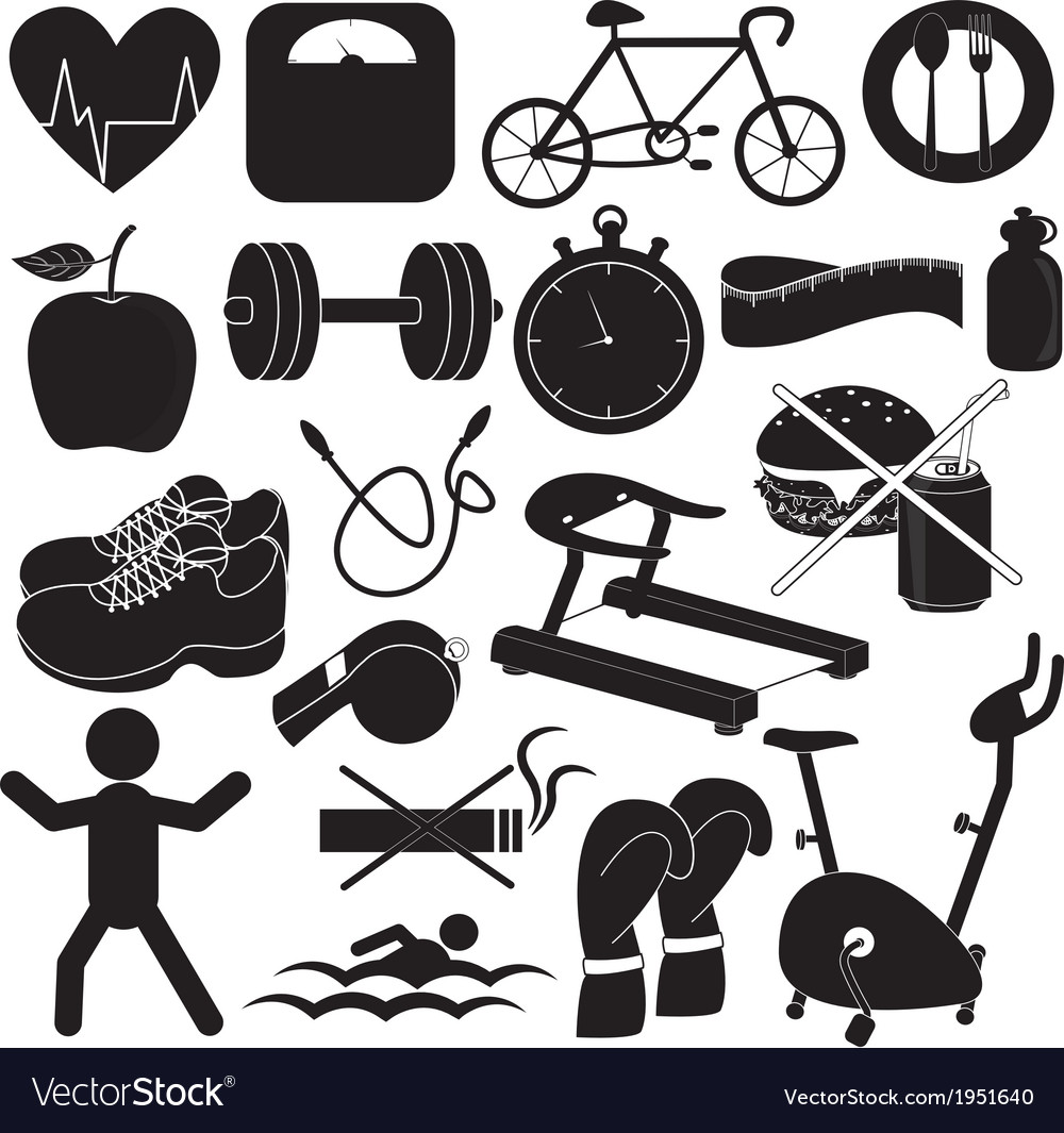 Health and fitness icons collection vector | Price: 1 Credit (USD $1)