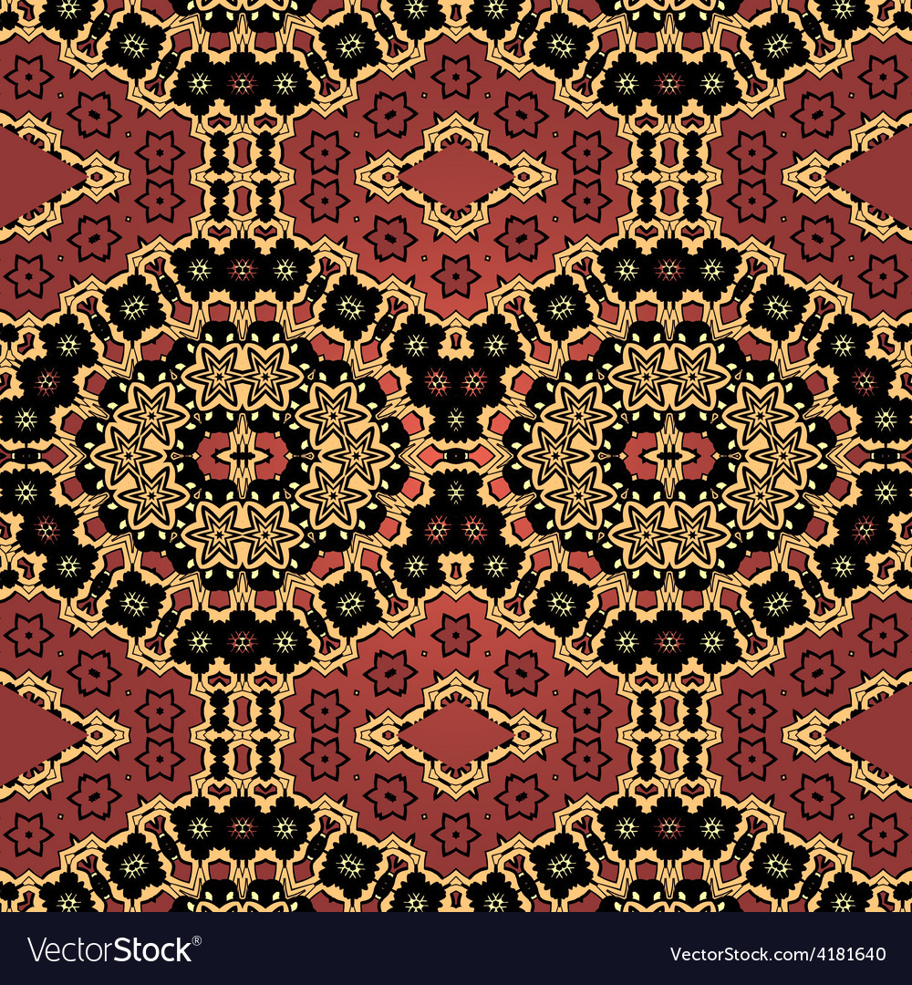Henna coloured seamless wallpaper in indian style vector | Price: 1 Credit (USD $1)