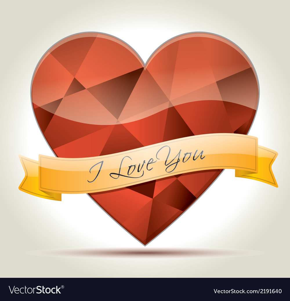 I love you heart diamond vector | Price: 1 Credit (USD $1)