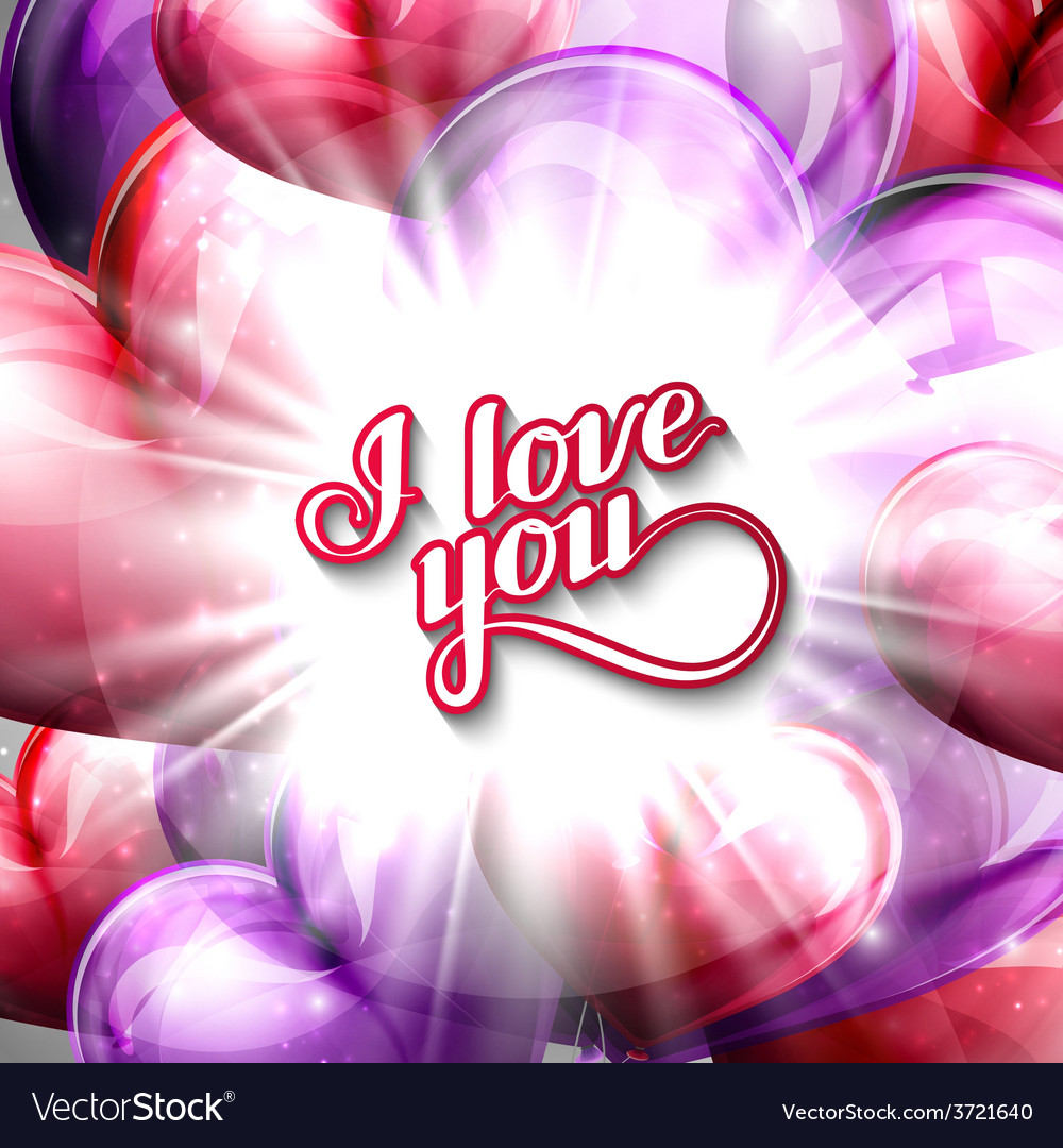 I love you label on the festive balloon hearts vector | Price: 1 Credit (USD $1)