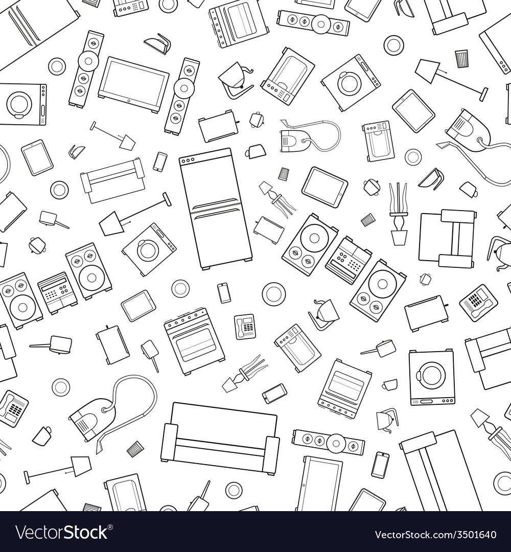 Mess of outline icons house appliance seamless vector | Price: 1 Credit (USD $1)