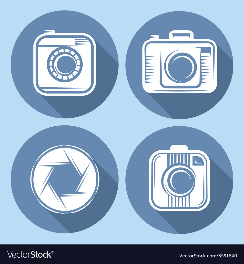 Set of hipster cameras or web icons with long vector   Price: 1 Credit (USD $1)