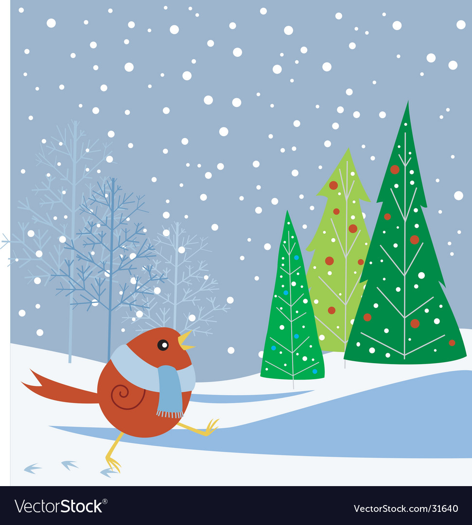 Snowbird and trees vector | Price: 1 Credit (USD $1)