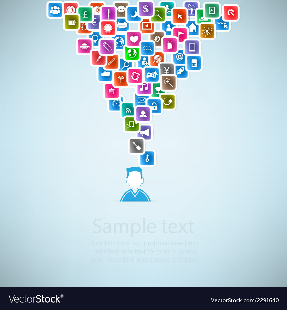 Template design businessman idea with social netwo vector | Price: 1 Credit (USD $1)