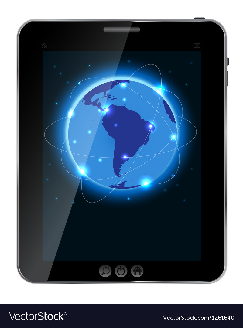 Universal design tablet with connection concept vector | Price: 1 Credit (USD $1)