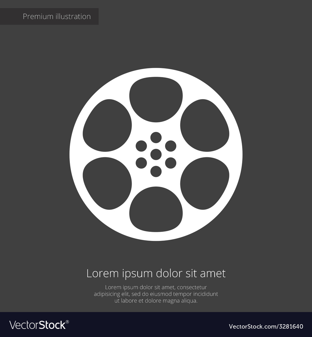 Video film premium icon white on dark background vector | Price: 1 Credit (USD $1)