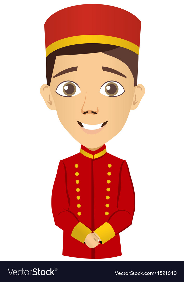 Young bellhop waiting for the client vector | Price: 1 Credit (USD $1)