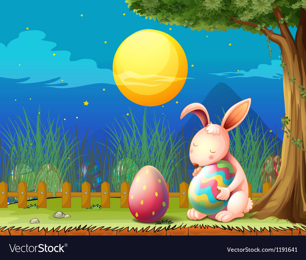 A bunny in the fence with two easter eggs vector | Price: 1 Credit (USD $1)