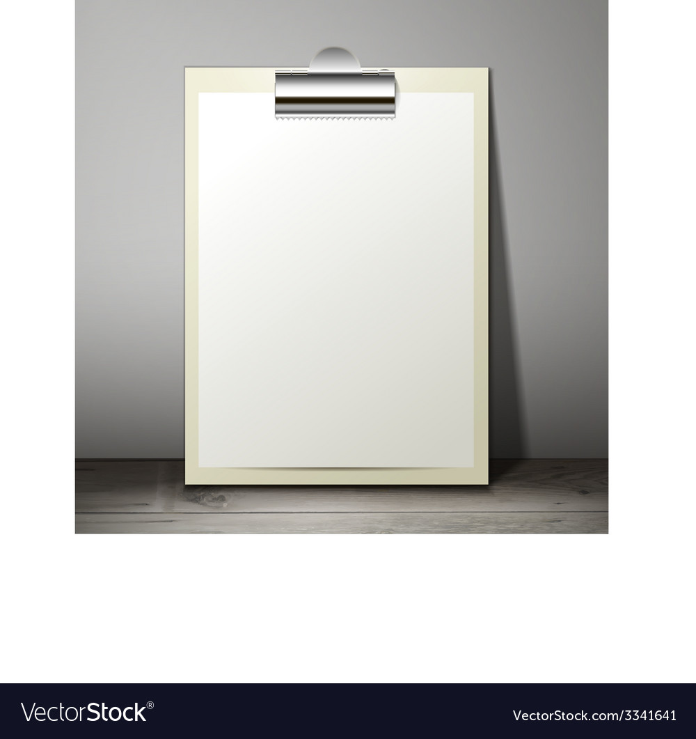Blank white paper sheet in a clipboard of standing vector | Price: 1 Credit (USD $1)
