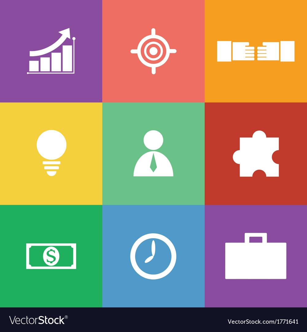 Business icon set flat design vector | Price: 1 Credit (USD $1)
